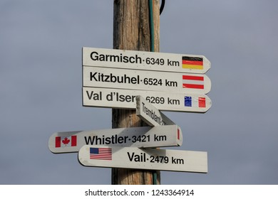 Direction signpost to well-known ski areas on Mount Molson in Petawawa, Ontario, Canada