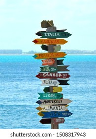 Direction signs and arrows with different destinations and distance