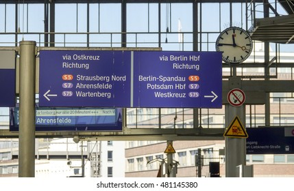 Direction signs at Berlin Alexanderplatz Train station - BERLIN / GERMANY - AUGUST 31, 2016