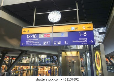 Direction signs at Berlin Central station - BERLIN / GERMANY - AUGUST 31, 2016