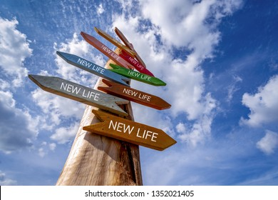 Direction Signs or Crossroad signpost saying NEW LIFE, Concept for fresh start, new year resolution, dieting and healthy lifestyle