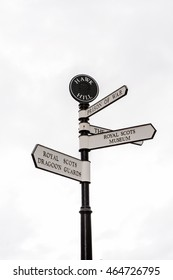Direction signs in Edinburgh Castle, Scotland