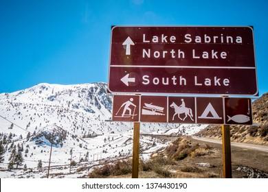 Direction signs to Lake Sabrina at Bishop - BISHOP, UNITED STATES OF AMERICA - MARCH 29, 2019