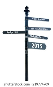 Direction signs with new year wish isolated on white