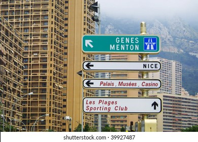 Direction signs on a post in Monte Carlo, Monaco