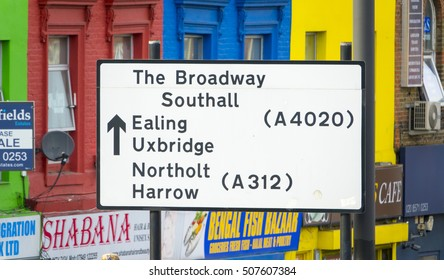 Direction signs at Southall London - LONDON / ENGLAND - SEPTEMBER 23, 2016