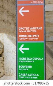 Direction signs at St Peters Basilica in Vatican City Rome - ROME / ITALY, NOVEMBER 6, 2016
