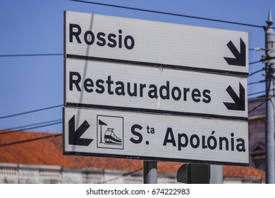 Direction signs in the street of Lisbon - LISBON / PORTUGAL - JUNE 15, 2017