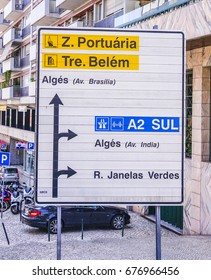 Direction signs in the street of Lisbon - LISBON / PORTUGAL - JUNE 14, 2017