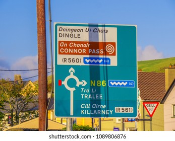 Direction signs in the streets of Dingle - KERRY / IRELAND - MAY 6, 2018