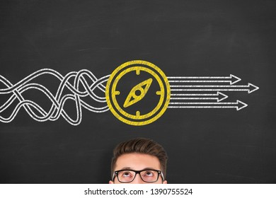 Direction Solution Concepts on Chalkboard Background