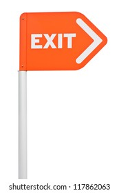 directional orange exit sign on post pole (isolated on white background)