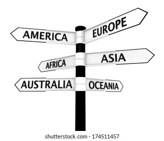 Directional post with 6 pointers with names of continents on them