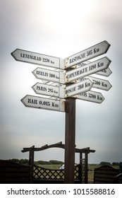 Directional road sign at Utah beach, Normandy, France