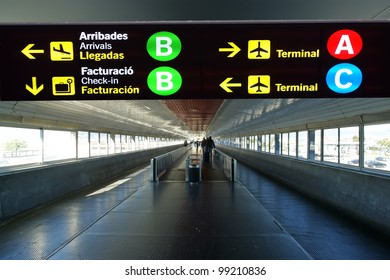 Directional sign in Barcelona International airport. Catalonia, Spain