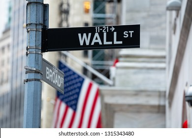 Directional Sign Board Of Wall Street In New York City