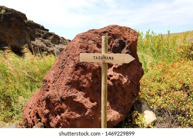 Directional sign to coastal village of Taganana, Tenerife, Canary Islands, Spain.