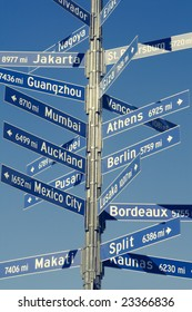 Directional sign for mileage to various world capitals from Los Angeles.