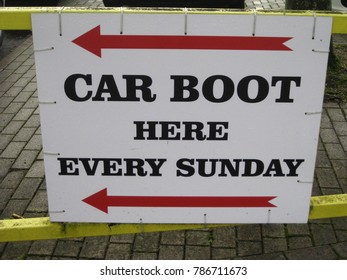 Directional sign for weekly car boot sale