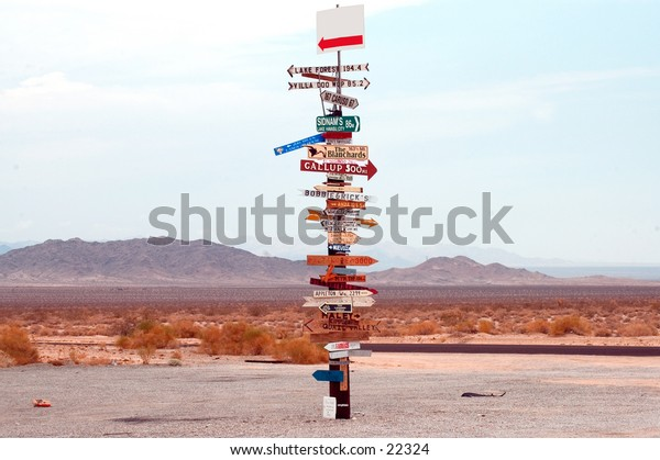 Directional signpost in the middle of the Arizona desert