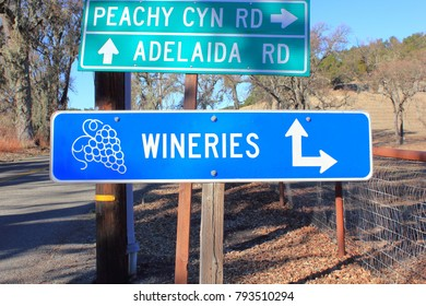 Directional signs along the road in the Paso Robles wine country.