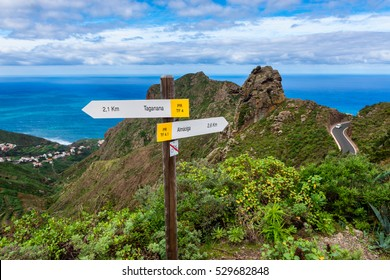 Directional signs to coastal village of Taganana, Tenerife, Canary Islands, Spain.