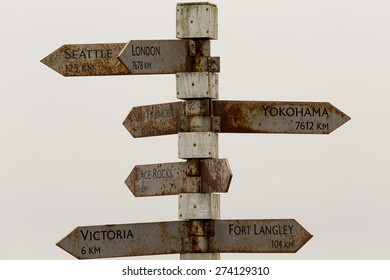 Directional signs to major cities near Fisgard Lighthouse on Vancouver Island