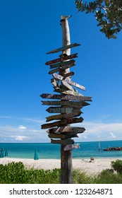 Directional Signs on Key West beach, Florida