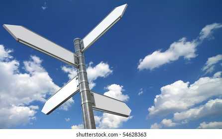 Directional signs over blue sky