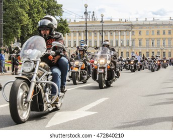 Directions bikers column. St. Petersburg, Russia - 13 August, 2016. The annual International Motor Festival Harley Davidson in St. Petersburg.