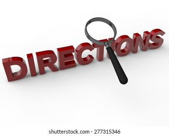 Directions with magnifier over white background