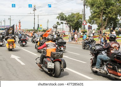 Directions motorcyclists to the Palace Bridge. St. Petersburg, Russia - 13 August, 2016. The annual parade of Harley Davidson in the squares and streets of St. Petersburg.