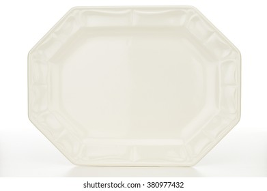 Directly above shot of empty platter on white background
