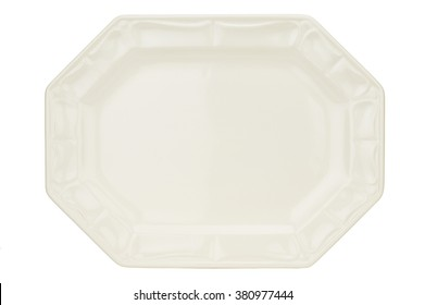 Directly above shot of empty platter against white background