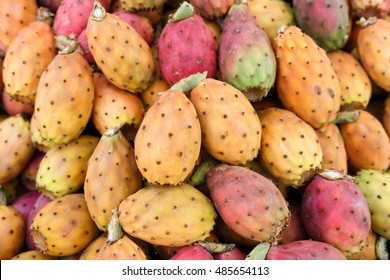 Directly above shot of Fresh ripe whole Prickly Pears at the market stall, Sicily