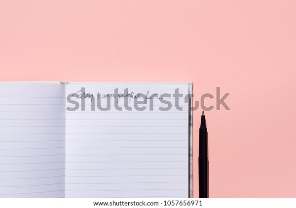 Directly above view of blank gratitude journal and black pen on pink background with copy space in bright sunlight