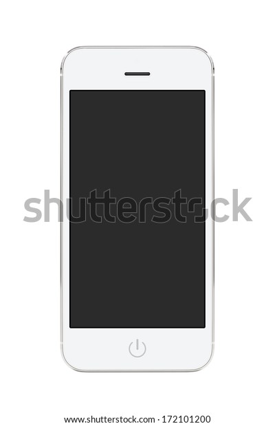 Directly front view of a modern white mobile smart phone with blank screen isolated on white background. High quality.
