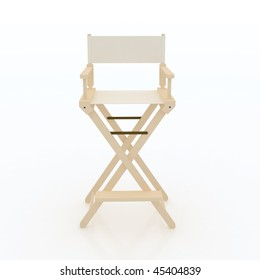 Director Chair. Wooden, White Fabric Furniture Piece Design. Front View.