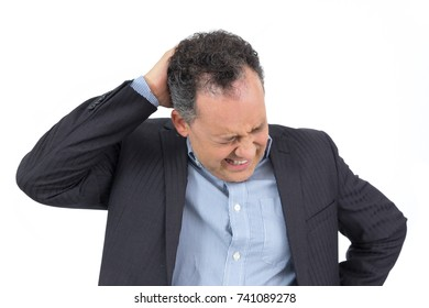 Director of the company has severe headache. Migraine. Worried. He wears elegant clothes, suit and social shirt. Isolated.