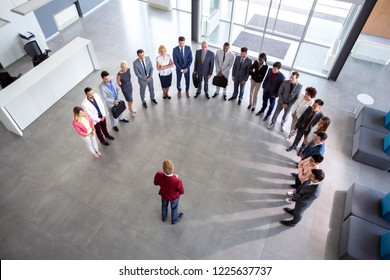 Director hold company meeting, semicircle concept