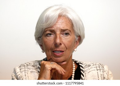 Director of IMF Christine Lagarde, attends a press conference on Article 4 financial sector assessment in  Luxembourg on Jun. 21, 2018.