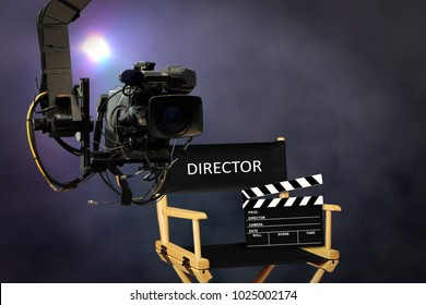 Director seat on set with video camera