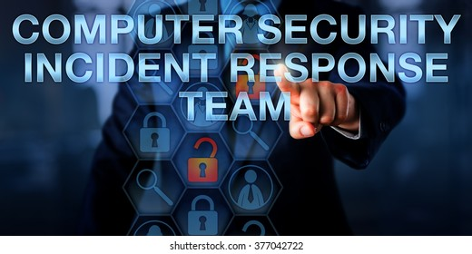 IT director is touching COMPUTER SECURITY INCIDENT RESPONSE TEAM onscreen. Security technology and business concept for a team of professional cyber firefighters skilled to counter cybercrime.