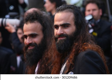 Directors Ahmad 'Tarzan' Abu Nasser (L) and Mohammed 'Arab' Abu Nasser attend the 'Sicario' premiere during the 68th annual Cannes Film Festival on May 19, 2015 in Cannes, France.