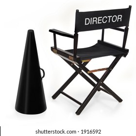 Ordinaire Directoru0027s Chair And Megaphone On White Background