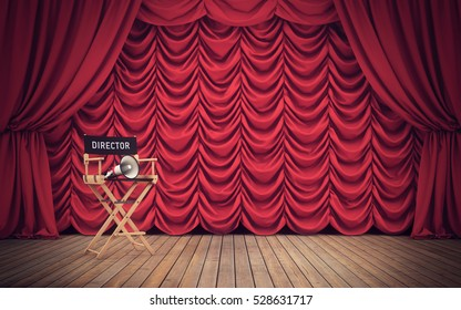 Director's chair on stage with red curtains background. 3D rendering