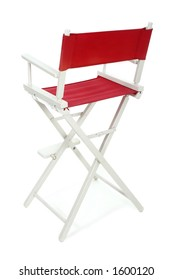 Director's chair with red seat and back on a white frame. Isolated on white background.  Add your text or logo to the back of the chair.