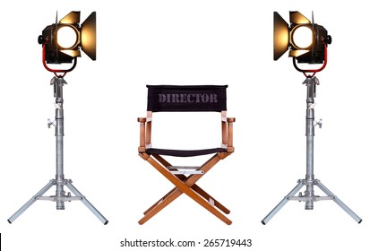 Director's Chair and Vintage Movie Studio Light on a Metal Stand Isolated on White background. Equipment of Film Industry.