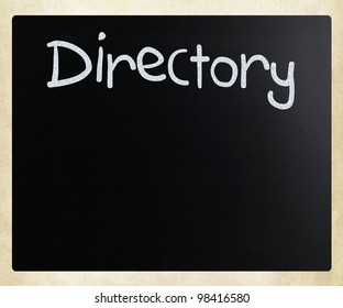 """Directory"" handwritten with white chalk on a blackboard"