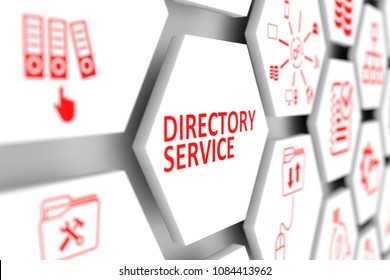 Directory service concept cell blurred background 3d illustration